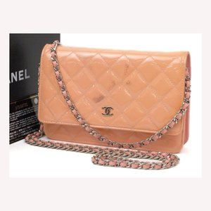 Chanel Quilted Salmon Patent Wallet on Chain Flap